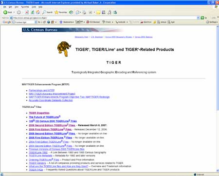 Screenshot of the US Census MAF/TIGER Accuracy Improvement Project Website