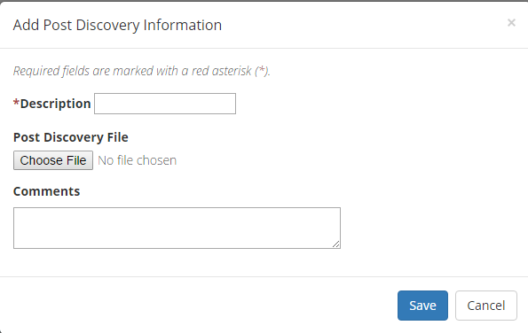 Add Post Discovery Meeting Information Modal Popup