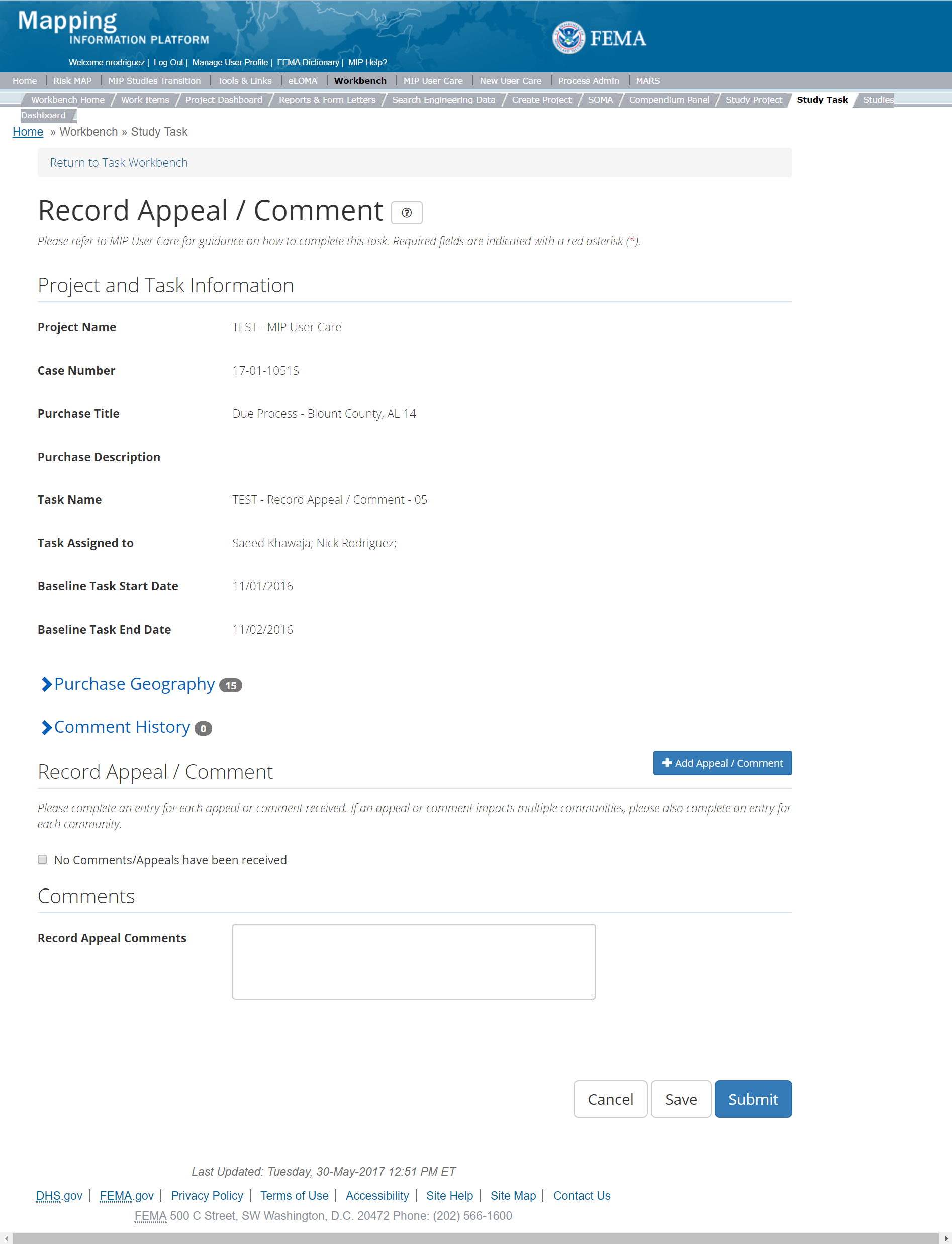 Record Appeal/Comment Task