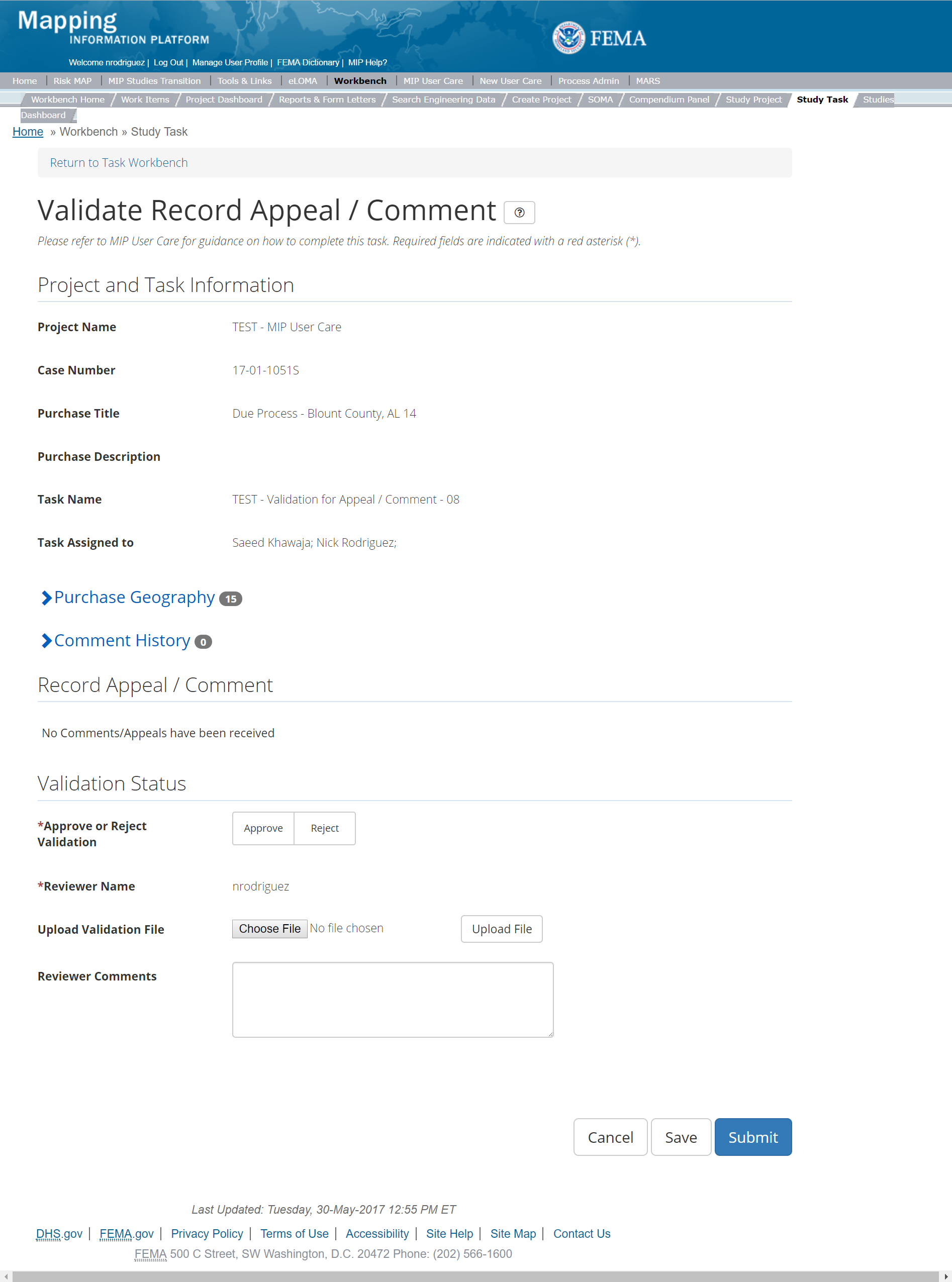 Validate Record Appeal/Comment Task